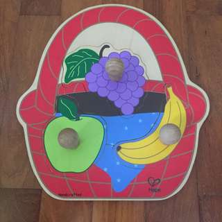2 x Hape Puzzles (Fruits and Transportation)