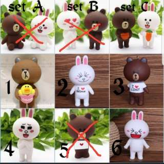 Brown & Cony Line Friends Cake Figurine Toppers for Party Decoration/ Car display