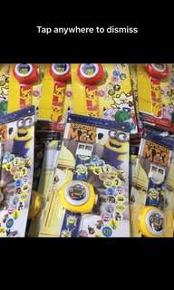 Minions watch with projector images- goodies bag, goody bag gift