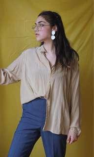 Vintage Silky Beige Button Down