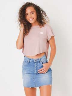 LEE | NEW | Size 6 | XS | Smokey Rose Crop Scoop Tee | Dusty Pink Shirt