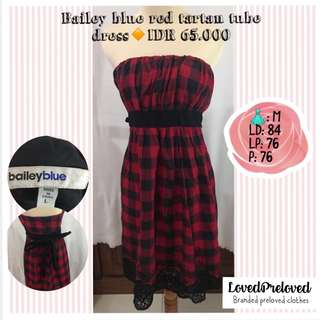 Bailey blue red tartan tube dress