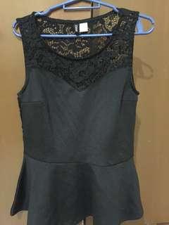 H&M Peplum Black Lace Top