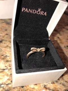 14k Gold Pandora Sparkling Bow Ring