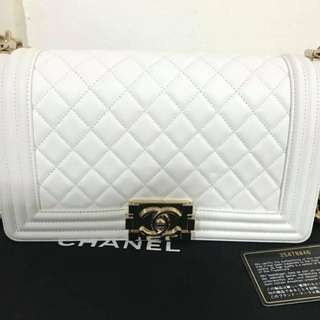 Authentic Chanel Boy White