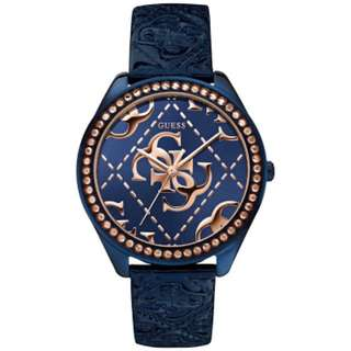 Guess Blue Leather Rose Gold Ladies Watch