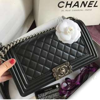 Authentic Chanel Boy Medium Lamb