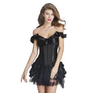 Black satin corset top and skirt