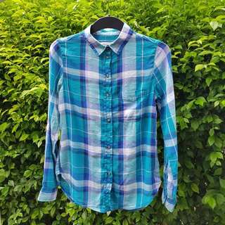 American Eagle Plaid Boyfriend Button-Down Shirt Tosca Blue
