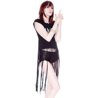 Wildfox Couture - Bang! Fringe T-Shirt in Black Size S