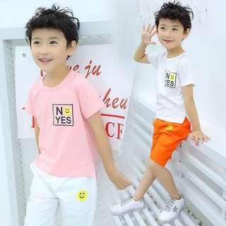 🚚 《預購》男童夏裝新款套裝韓版夏季童裝兒童短袖兩件套中大童潮衣