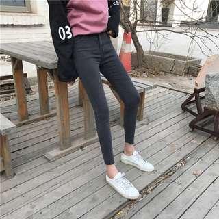 全新 女裝 Q968649 春秋高腰顯瘦彈力修身牛仔褲小腳褲鉛筆褲長褲學生潮