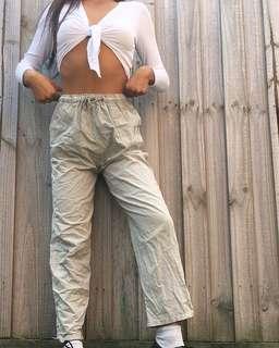High Waist Khaki Drawstring Pants