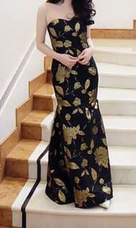 Couture black and gold dress