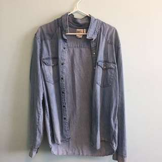 H&M denim button up
