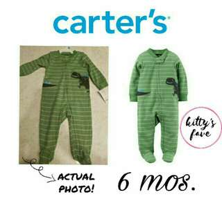 Carter's Dinosaur Striped Zip Up Footie (6 mos.)