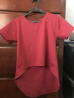 Red Long Back Shirt
