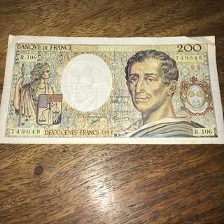 France 200 Francs banknote 1992 fine condition