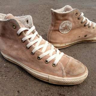 converse ct as shearling brown suede