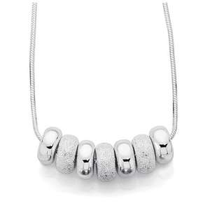 ANGUS & COOTE   Silver 42cm Sterling Silver Small Stardust 7 Lucky Rings Necklet   Necklace   Chain