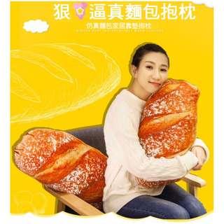 創意逼真法國大麵包抱枕零食玩偶