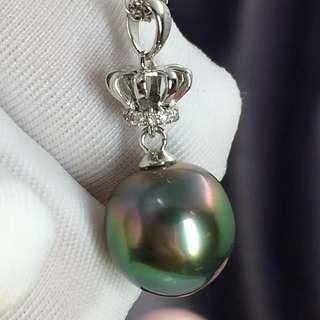 大溪地黑珍珠18k鑽石💎吊墜 高品質 物美價廉 9-10mm基本都是無瑕的鏡面孔雀綠 簡約而不簡單的👑👑吊墜