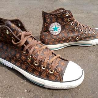 converse ct as brown leather flora flower