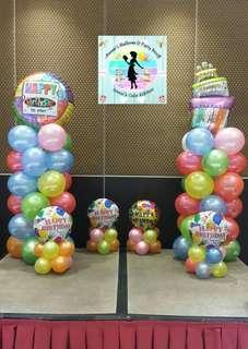 Birthday Party Balloon Pillars with Mini-Balloon Clusters