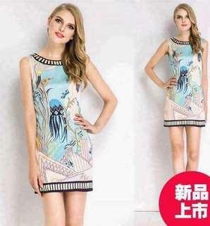 3D Full print sleeveless dress