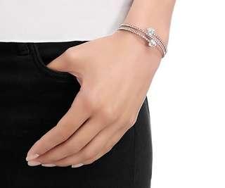 SWAROVSKI | Twisty Triangle Bangle White Rhodium Plating | Silver Bracelet | Crystals | Mother's Day