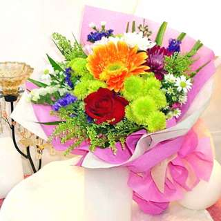 [FREE DELIVERY] Mixed Gerbera, Rose & Chrysanthemum Hand-bouquet  (003-MF)