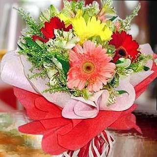 [FREE DELIVERY] 6 Mixed Gerberas Hand-bouquet (001-GB)