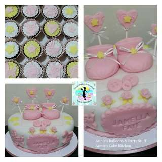 1-Layer Baptismal Cake with Baby Booties Topper and 20 Cupcakes