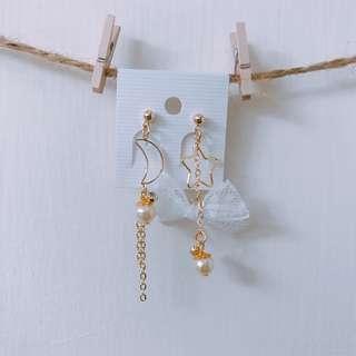 星星與月亮的蕾絲婚禮耳環