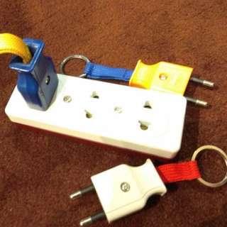 Wall Socket Lookalike Key Holder With Plug Keychain