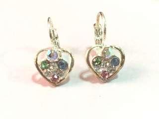 Heart multicolor cluster earring