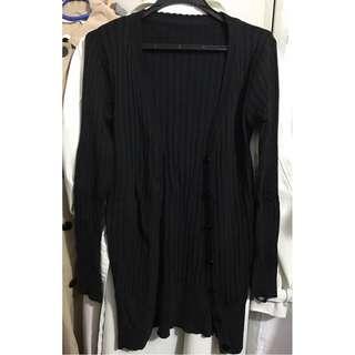 黑色暗紋針織外套