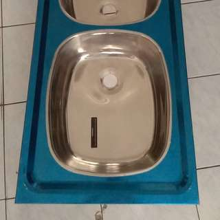 S/Steel Kitchen Sink Double Bowl Single Drainer Insert Type
