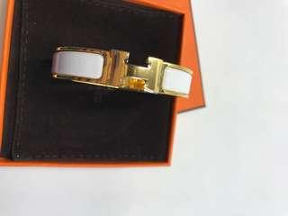 Hermes Bracelet白色金扣小號罕見 全新購自巴黎