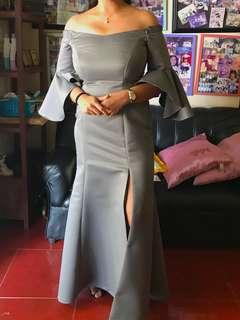 off-shoulder gown