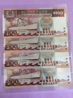 Ship Series $100 Singapore Note