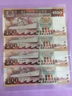 Ship Series $100 Singapore Note