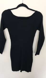 Black long sleeve split dress