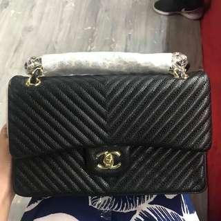 Chanel Double Flap Bag in Caviar Chevron Medium