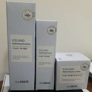 The SAEM Iceland hydrating emulsion, essence & water volume cream