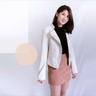 [現貨]絕不剝落韓版杏色淺色皮衣❤️皮衣要穿起來舒服又有質感