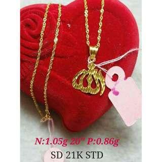 21K SAUDI GOLD NECKLACE (CHAIN & PENDANT) >>>>>,