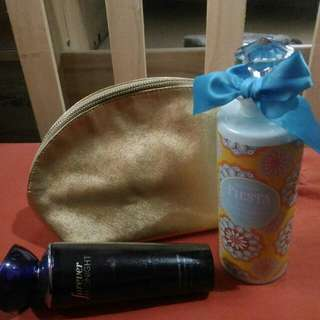 Bath and Body works spray AND Bath and bliss lotion with pouch PACKAGE