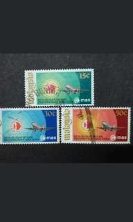 Malaysia 1973 Setting Up Of Malaysia Airline System (MAS) Complete Set - 3v Used Stamps #1
