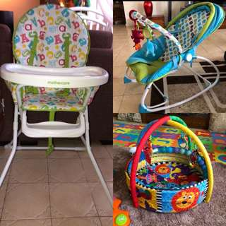 Bundle Baby Rocker, high chair, and play gym